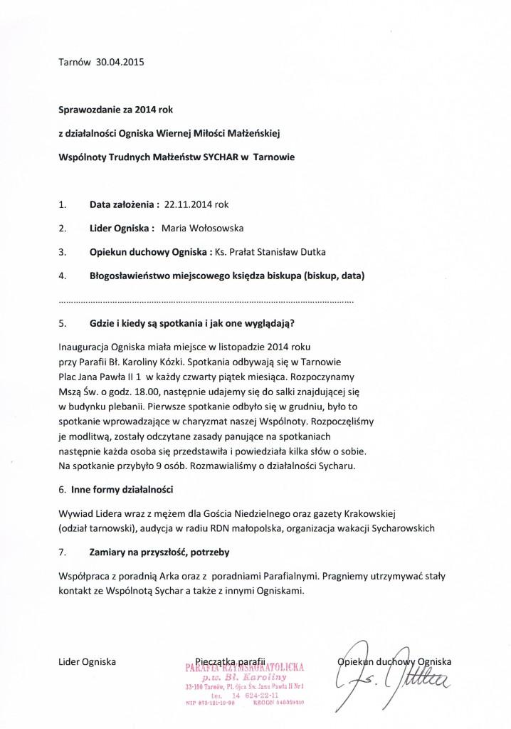 sprawozdanie Tarnów 2014